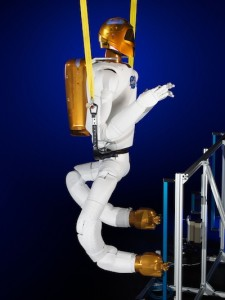 A ground version of Robonaut 2 undergoes testing with its legs.